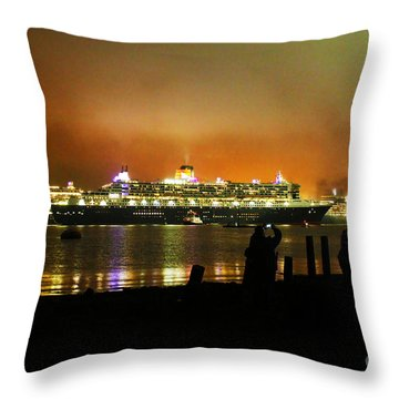 Cunard's 3 Queens Throw Pillow by Terri Waters