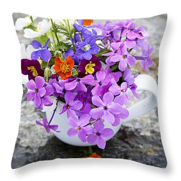 Cup Full Of Wildflowers Throw Pillow by Edward Fielding