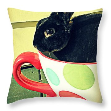 Cup O' Rabbit Throw Pillow