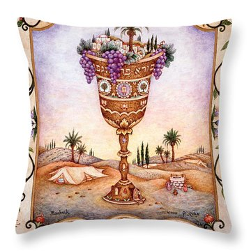 Cup Of Blessings - Gefen Throw Pillow by Michoel Muchnik