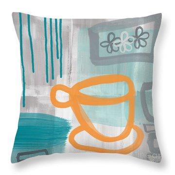 Orange Flower Throw Pillows