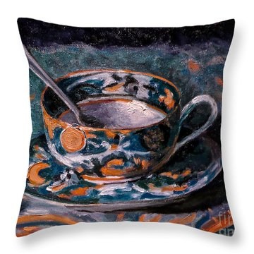 Cup Of Tea And Sugar Cubes Throw Pillow