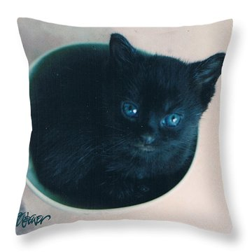 Cup O'kitty Throw Pillow