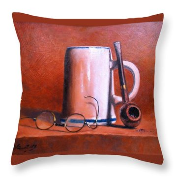 Cup Pipe And Glasses Throw Pillow