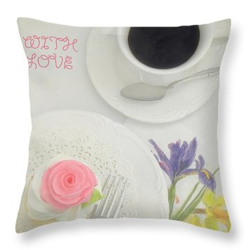 Cupcake And Coffee For Mom Throw Pillow by Sandi OReilly