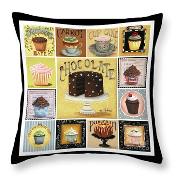 Cupcake Mosaic Throw Pillow by Catherine Holman