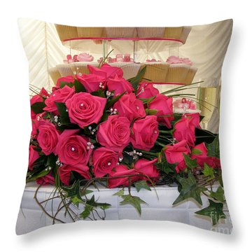 Cupcakes And Roses Throw Pillow by Terri Waters