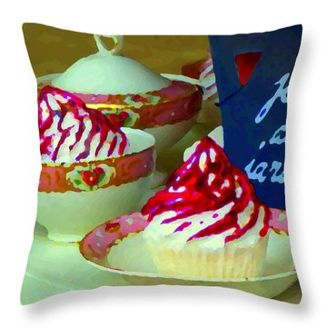 Cupcakes And Tea Je Suis Au Jardin Coffee Shop City Scene Cafe Montreal Food  Art Carole Spandau Throw Pillow by Carole Spandau