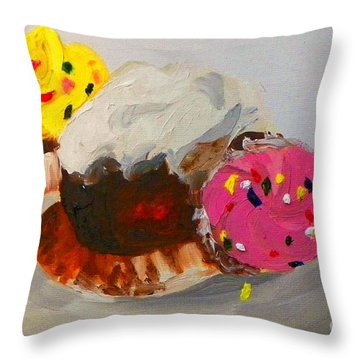 Cupcakes Throw Pillow by Marisela Mungia