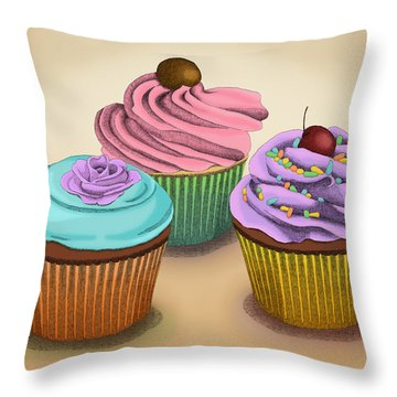 Throw Pillow featuring the drawing Cupcakes by Meg Shearer
