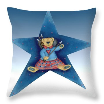 Cupid's Teddy Bear Throw Pillow by Tracy Campbell
