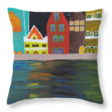 Curacao Nights Throw Pillow by Melissa Vijay Bharwani