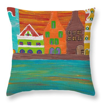 Curacao's Handelskade Abstract Throw Pillow by Melissa Vijay Bharwani