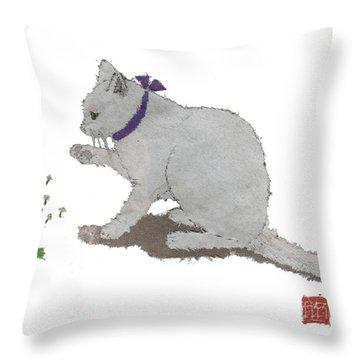 Cat Art Hand-torn Newspaper Painting  Throw Pillow by Keiko Suzuki
