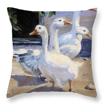 Curious Geese At The Farm Throw Pillow