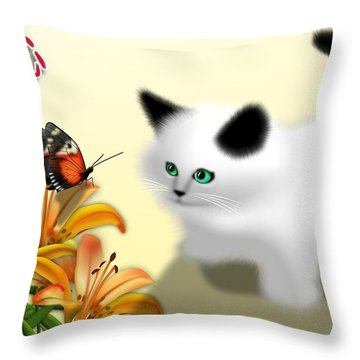 Curious Kitty And Butterfly Throw Pillow