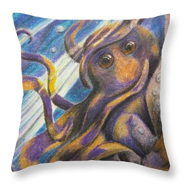 Curious Octopus  Throw Pillow by Laurianna Taylor