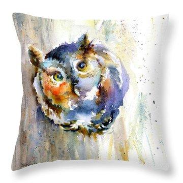 Curious Screech Owl Throw Pillow by Christy Lemp