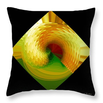 Throw Pillow featuring the digital art Curl I In Green And Gold by Roy Erickson
