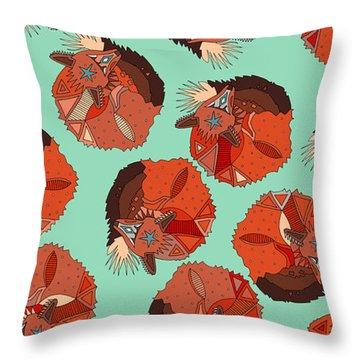 Curled Fox Polka Mint Throw Pillow