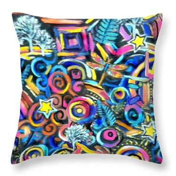Curleys And Dragonflies Throw Pillow by Jean Fitzgerald