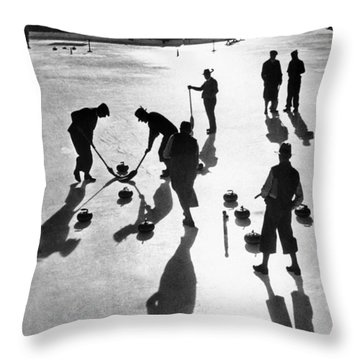 Curling At St. Moritz Throw Pillow