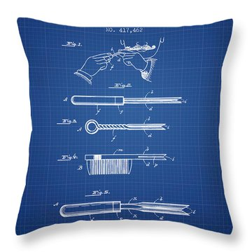 Curling Tongs Patent From 1889 - Blueprint Throw Pillow