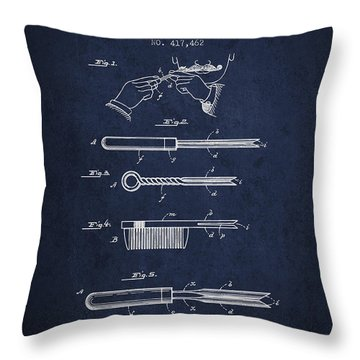 Curling Tongs Patent From 1889 - Navy Blue Throw Pillow
