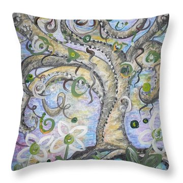 Curly Tree In Fantasy Land Throw Pillow by Eloise Schneider