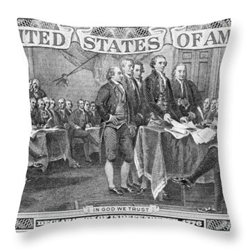 Currency: Two Dollar Bill Throw Pillow by Granger