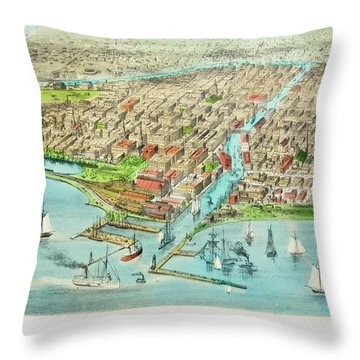 Currier & Ives Illustration Of Chicago Throw Pillow