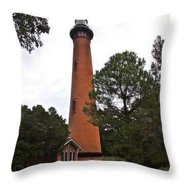 Currituck Lighthouse Throw Pillow by Eve Spring