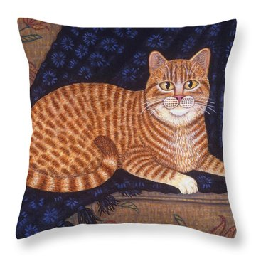 Curry The Cat Throw Pillow by Linda Mears
