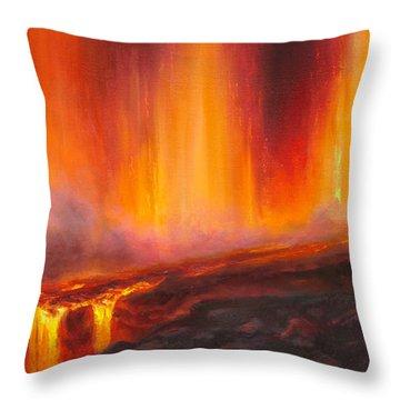 Erupting Kilauea Volcano On The Big Island Of Hawaii - Lava Curtain Throw Pillow
