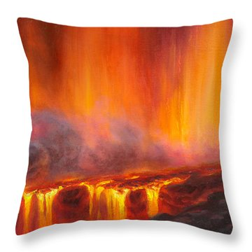 Erupting Kilauea Volcano On The Big Island Of Hawaii - Lava Curtain Throw Pillow
