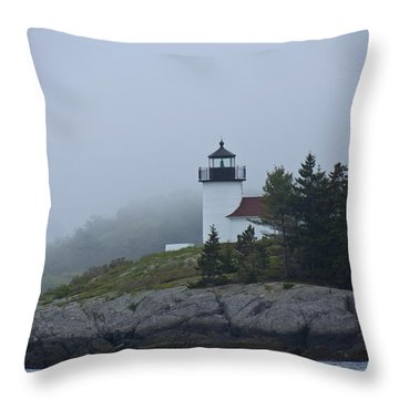 Curtis Island Lighthouse Throw Pillow by Daniel Hebard