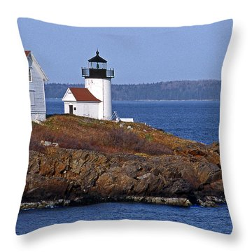 Curtis Island Lighthouse Throw Pillow by Skip Willits