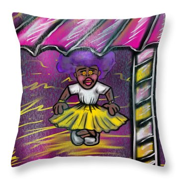 Curtsy Doll Rain Throw Pillow