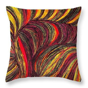 Curved Lines 3 Throw Pillow by Sarah Loft