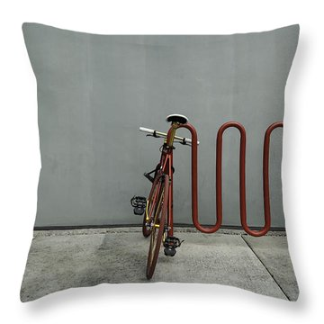 Throw Pillow featuring the photograph Curved Rack In Red - Urban Parking Stalls by Steven Milner