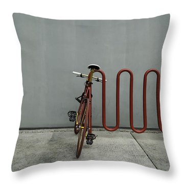Curved Rack In Red - Urban Parking Stalls Throw Pillow