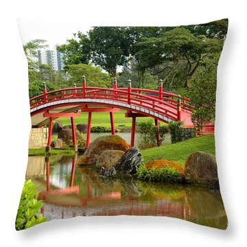 Throw Pillow featuring the photograph Curved Red Japanese Bridge And Stream Chinese Gardens Singapore by Imran Ahmed