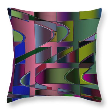 Throw Pillow featuring the digital art Curves And Trapezoids 3 by Judi Suni Hall