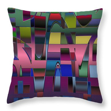 Throw Pillow featuring the digital art Curves And Trapezoids  by Judi Suni Hall