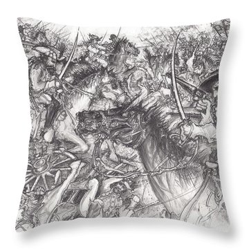 Custer's Clash Throw Pillow