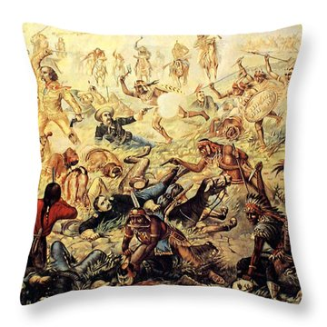 Custer's Last Fight Detail Throw Pillow by Unknown
