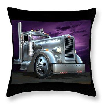 Custom Peterbilt Silver Ghost Throw Pillow