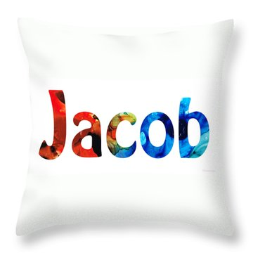Customized Baby Kids Adults Pets Names - Jacob 5 Name Throw Pillow by Sharon Cummings