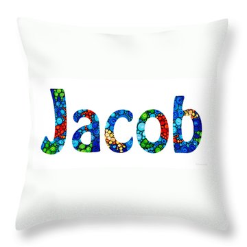 Customized Baby Kids Adults Pets Names - Jacob Name Throw Pillow by Sharon Cummings