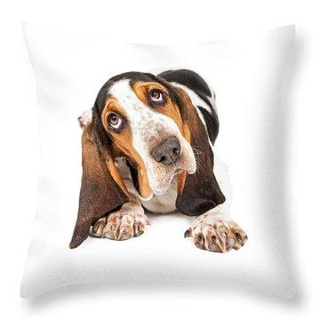 Cute Basset Puppy Tilting Heard Throw Pillow by Susan Schmitz